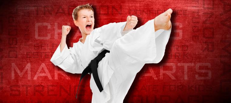 kid karate kicking
