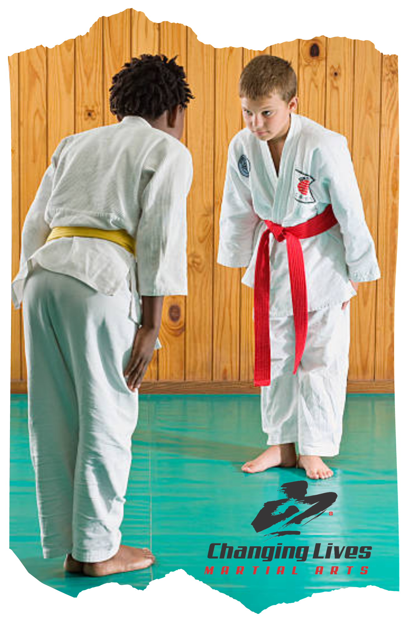 Karate students bow in respect